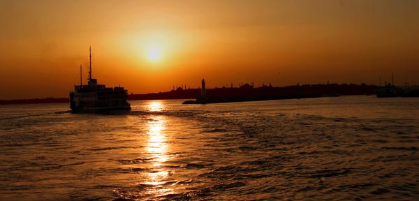istanbul, Bosphorus, sunset, Steamboat