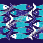 Fishes. Wallpaper, gift wrapping paper, decorative paper, backing for web, tile design, used as background for label. The color and size of the vector drawings may vary.
