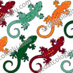 Lizards. Wallpaper, gift wrapping paper, decorative paper, backing for web, used as background for label. The color and size of the vector drawings may vary.