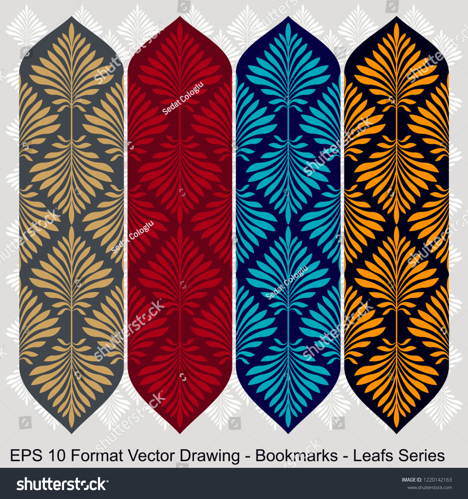 stock-vector-vector-set-of-ornate-vertical-bookmark-cards-in-leaf-style-it-can-be-used-as-wall-board-banner-1220142163