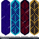 stock-vector-vector-set-of-ornate-vertical-bookmark-cards-in-leaf-style-it-can-be-used-as-wall-board-banner-1220142166