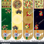 stock-vector-vector-set-of-ornate-vertical-bookmark-cards-in-madhubani-style-vector-drawing-it-can-be-used-as-1262258512