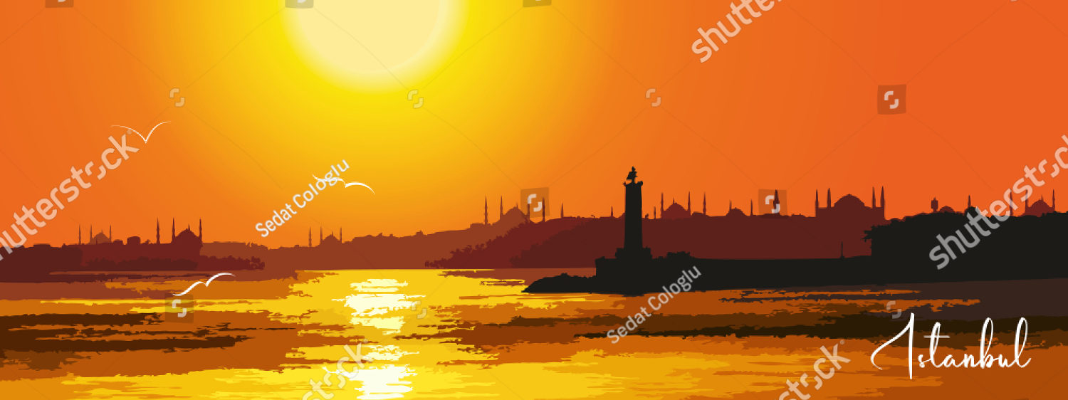 stock-vector-istanbul-city-turkey-urban-sunset-panoramic-cityscape-landmark-buildings-and-mosques-silhouette-1459987103