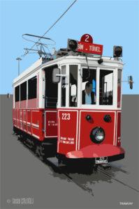 tramvay, vektör, illüstrasyon,