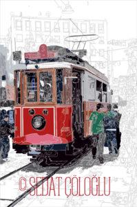 tramvay, istanbul, vektör,