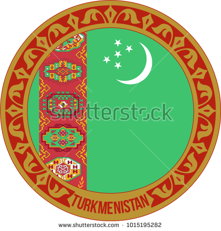 Türkmenistan, vector, flag, design, isolated, symbol, background, turkmenistan, country, icon, travel, nation, round, illustration, circle, world, button, state, white, national, emblem, sign, badge, green, concept, banner