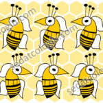 Bees_101 Bees and honeycombs. Wallpaper, gift wrapping paper, decorative paper, background for web, background for label, color and size in vector drawings.