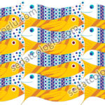 Fish and birds. Wallpaper, gift wrapping paper, decorative paper, background for web, background for label, color and size in vector drawings.